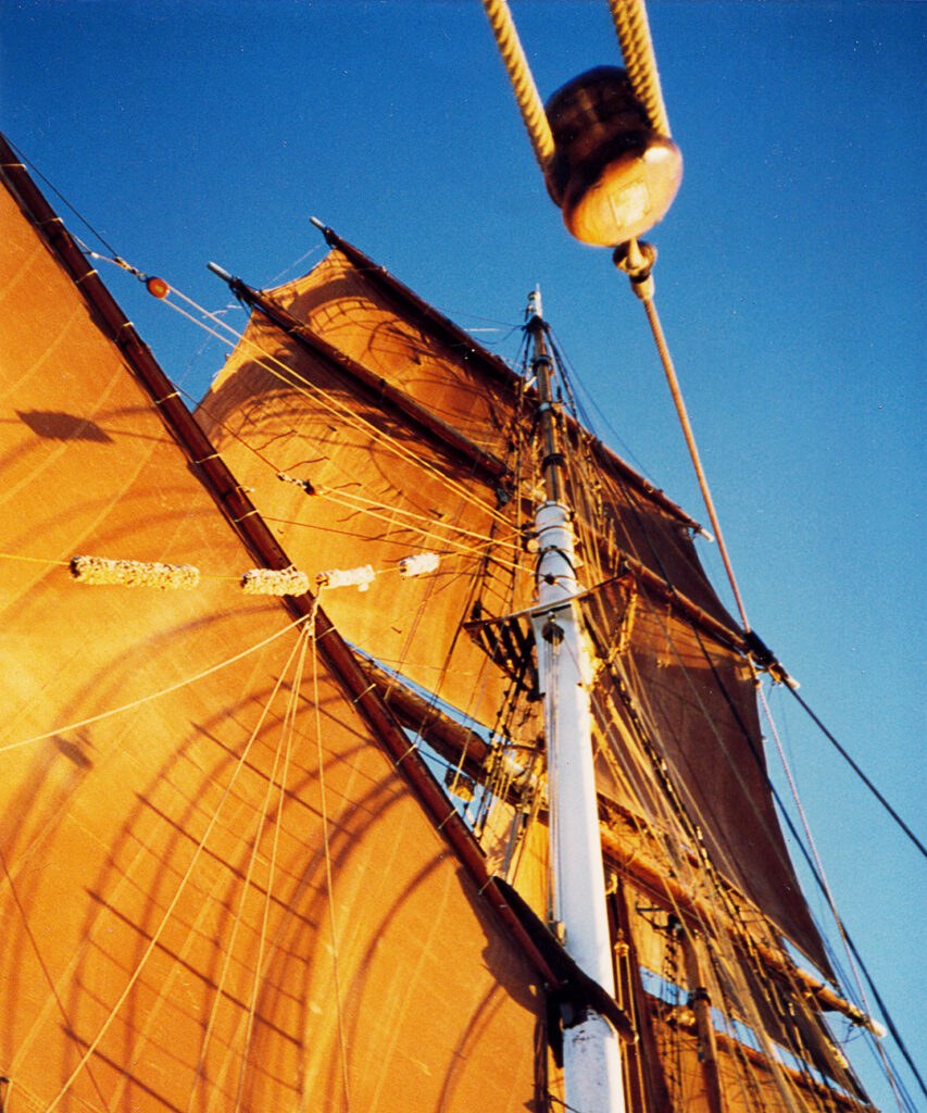 The Eye of the Wind's sails filled with wind.