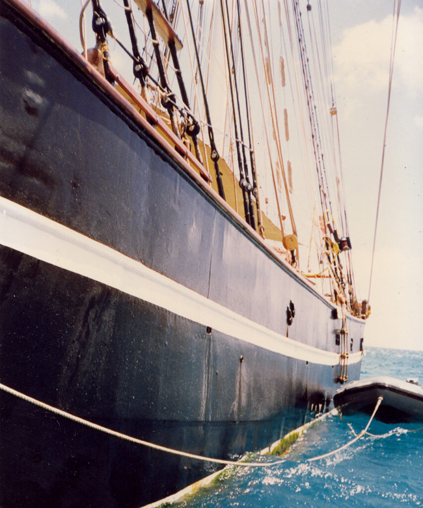 The steel hull of the tall ship, The Eye of the Wind.