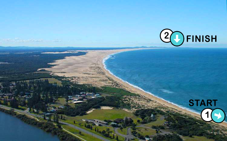 Aerial view of Stockton Beach walked by Tim Horan in January 2021.