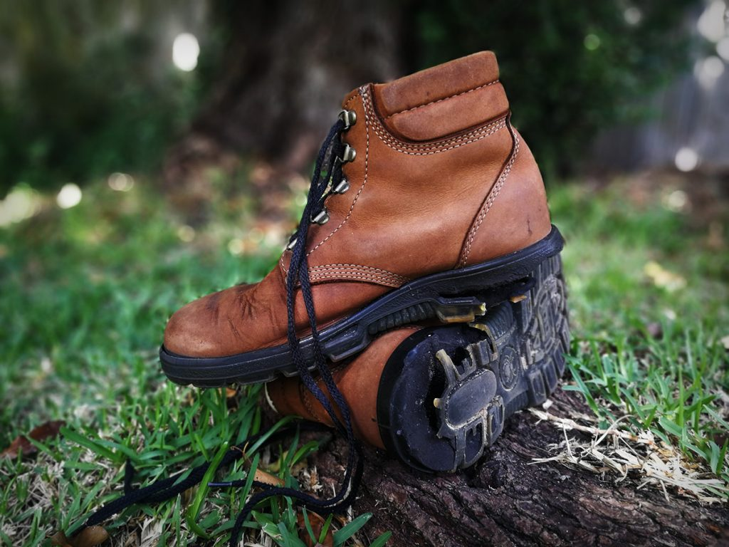 Tim Horan's hiking boots with ruined soles.