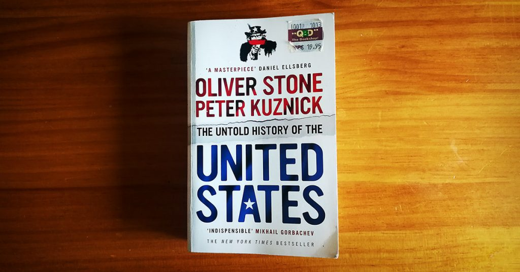 Tim Horan's paperback copy of 'The Untold History of the United States' by Oliver Stone and Peter Kuznick.